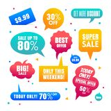 Gradient Sales Speech bubbles labels collection. Colorful Speech bubbles for sales discount tag with gradient colors royalty free illustration