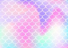 Gradient scale background with holographic mermaid. stock illustration