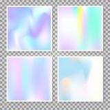 Holographic abstract backgrounds set. Gradient set with holographic mesh. Futuristic abstract gradient set backdrops. 90s, 80s retro style. Iridescent graphic vector illustration