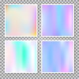 Holographic abstract backgrounds set. Gradient set with holographic mesh. Multicolor abstract gradient set backdrops. 90s, 80s retro style. Pearlescent graphic royalty free illustration
