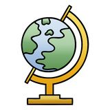 Gradient shaded cartoon world globe. A creative illustrated gradient shaded cartoon world globe stock illustration