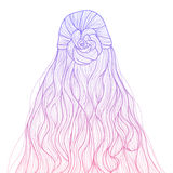 Gradient sketch style long hair hairstyle. Half-up curly hair with braid flower hairstyle stock illustration