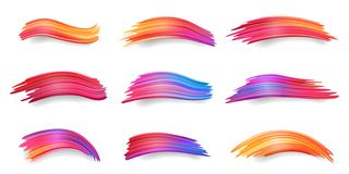 Gradient smears or colorful brushstrokes, paint. Gradient of colorful smears, red to orange, purple, blue brush strokes, acrylic paint daub or set of isolated stock illustration