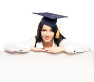 A gradient student with a white banner Royalty Free Stock Photography