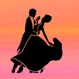 Gradient sunrise dancers. Sunrise gradient has the colors of an early morning tropical sunrise with dancers silhouette vector illustration