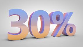 30% gradient text  on white background, 3d render. Illustration Royalty Free Stock Image