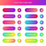 Gradient vector buttons with shadows stock illustration