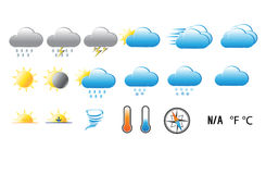 Gradient weather icons on white background Stock Photo