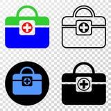Gradiented拼贴画加点了医疗提包和Grunged邮票 皇族释放例证