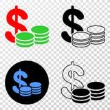 Gradiented拼贴画加点了现金和Grunged邮票 库存例证