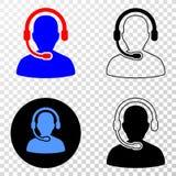 Gradiented拼贴画加点了电话中心操作员和Grunged邮票 向量例证