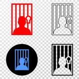 Gradiented拼贴画加点了被拘留的人和Grunged邮票 库存例证