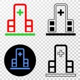 Gradiented拼贴画加点了诊所大厦和Grunged邮票 皇族释放例证