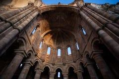 Gradiose romańszczyzny ruina monaster Granja De Moreruela wewnątrz Obrazy Royalty Free