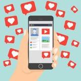 Gradisce il vettore dell'icona di notifica che lascia lo smartphone sulla rete sociale Immagini Stock