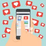 Gradisce il vettore dell'icona di notifica che lascia lo smartphone sulla rete sociale, il simbolo per la vostra progettazione, i Fotografia Stock Libera da Diritti