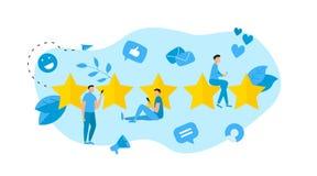 Grado de cliente de cinco estrellas Concepto de feedback libre illustration