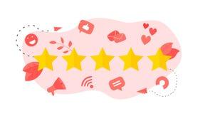 Grado de cliente de cinco estrellas Concepto de feedback ilustración del vector