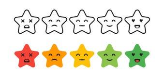 Grado de satisfacción Fije de iconos de la estrella de la reacción en la forma de emociones Excelente, bueno, normal, malo, treme libre illustration