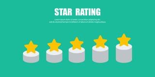 Grado del crecimiento en las estrellas de la forma cinco para su diseño stock de ilustración