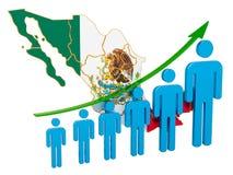 Grado del empleo y desempleo o mortalidad y fertilidad en México, concepto representaci?n 3d ilustración del vector