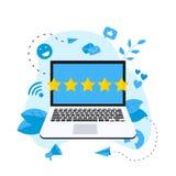 Grado en línea del cliente de cinco estrellas Concepto de feedback ilustración del vector