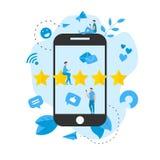 Grado en l?nea del cliente de cinco estrellas Concepto de feedback stock de ilustración