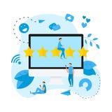 Grado en l?nea del cliente de cinco estrellas Concepto de feedback libre illustration