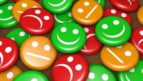 Grado feliz de la reacción del servicio de atención al cliente Imagen de archivo