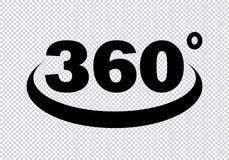 360 grados de icono stock de ilustración