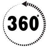 360 grados de icono en el fondo blanco Imagen de archivo libre de regalías