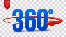 360 grados de muestra el ángulo isométrico 3d 360 grados ve el icono en fondo transparente Realidad virtual geometría ilustración del vector