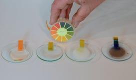 Grados del pH de algunos artículos diarios Imagen de archivo