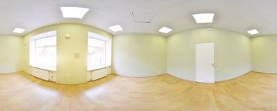 360 grados esféricos de la proyección del panorama, panorama en sitio vacío en apartamentos planos Imagen de archivo libre de regalías