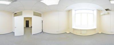 360 grados esféricos de la proyección del panorama, panorama en sitio vacío interior en apartamentos planos modernos Foto de archivo libre de regalías
