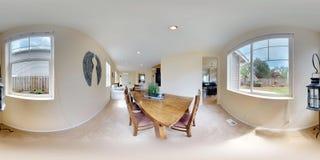 grados esféricos del ejemplo 3d 360, un panorama inconsútil del comedor con la tabla de madera imagen de archivo libre de regalías