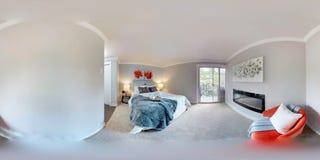 grados esféricos del ejemplo 3d 360, un panorama inconsútil del dormitorio principal imagenes de archivo