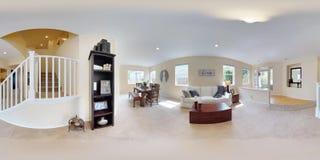 grados esféricos del ejemplo 3d 360, un panorama inconsútil del interior casero foto de archivo libre de regalías