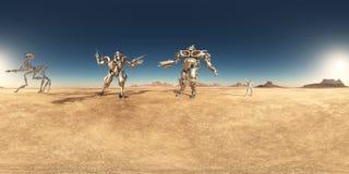 360 grados esféricos del panorama inconsútil con los robots y el astronauta en un desierto