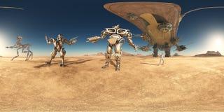 360 grados esféricos del panorama inconsútil con los robots y la nave espacial en un desierto