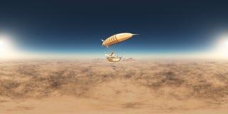 360 grados esféricos del panorama inconsútil con un dirigible de la fantasía sobre un paisaje del desierto libre illustration