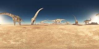 360 grados esféricos del panorama inconsútil con un grupo de dinosaurios en un desierto libre illustration