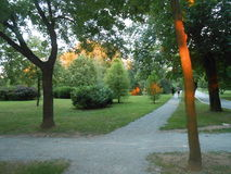 Gradski park u Sapcu grad u Srbiji. The city park city of Sabac in Serbia stock image