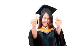 Graduação bonito asiática do retrato das mulheres fotos de stock