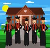 Graduação da universidade Vetor Projeto liso ilustração royalty free