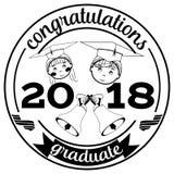 Graduación del ejemplo plano de 2018 vectores stock de ilustración