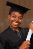 Graduación del estudiante universitario del afroamericano Imagen de archivo