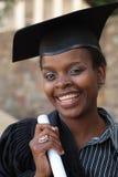 Graduación del estudiante universitario del afroamericano Imagenes de archivo