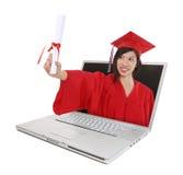Graduación en línea de la educación fotografía de archivo libre de regalías