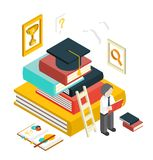 Graduación isométrica Infographic de la educación del web plano 3d stock de ilustración